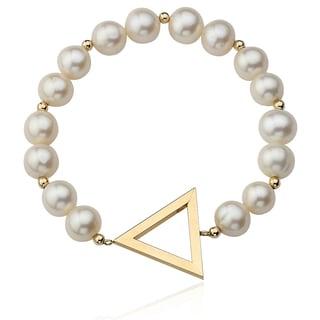 PearlAura Vanguard 14k Yellow Gold Freshwater Pearl Triangle Pendant Stretch Bracelet (9-10mm)