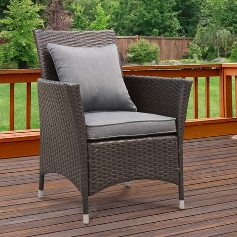 Allyn Espresso Outdoor Patio Arm Chair (Set of 2) by FOA