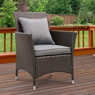 Furniture of America Allyn Espresso Wicker Patio Arm Chair (Set of 2)