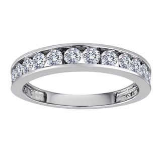 Sterling Silver 1/2ct TDW Channel-set Diamond Wedding Band