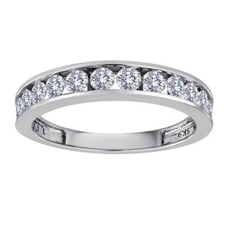 Sterling Silver 1/2ct TDW Channel-set Diamond Wedding Band - White H-I