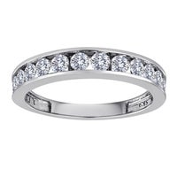Sterling Silver 1 2ct Tdw Channel Set Diamond Wedding Band White H I