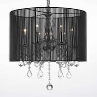 Crystal 6 Light Plug in Chandelier with Large Black Shade