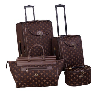 American Flyer Fleur De Lis 4-piece Expandable Rolling Luggage Set (Option: Brown)
