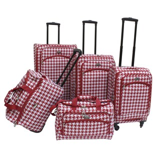 American Flyer Houndstooth 5-piece Expandable Spinner Luggage Set