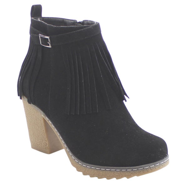 Nature Breeze Forest-04 Women's Lovely Buckled Zip Up Fringe Rubber Ankle Bootie
