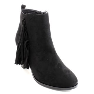 Bonnibel Dean-3 Women's Stacked Heel Side Zipper Fringe Ankle Booties