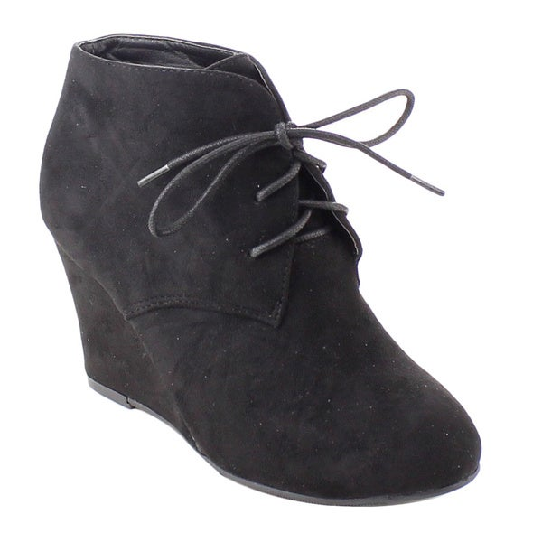 f9355873aa6 Shop Bonnibel Ollie-1 Women s Lace Up Wedge Heel Ankle Booties ...