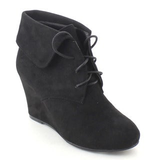 Bonnibel Ollie-2 Women's Lace Up Folded Cuff Wedge Heel Ankle Booties
