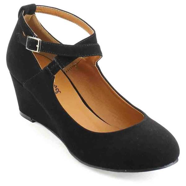 BONNIBEL DEBBY-1 Women's Criss Cross Ankle Strap Wedge Pumps ...