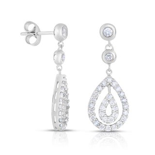 Eloquence 18k White Gold 1 1/4ct TDW Diamond Dangling Halo Earrings (H-I, SI1-SI2)