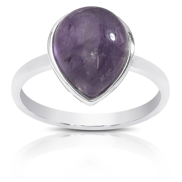Dolce Giavonna Sterling Silver Teardrop Gemstone Solitaire Ring. Opens flyout.