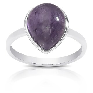 Dolce Giavonna Sterling Silver Teardrop Gemstone Solitaire Ring (4 options available)