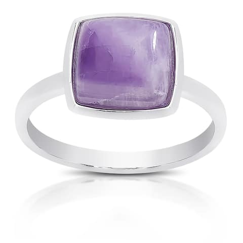 Dolce Giavonna Sterling Silver Gemstone Cocktail Ring