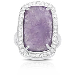 Dolce Giavonna Sterling Silver Gemstone and Cubic Zirconia Cocktail Ring