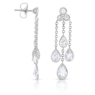 Eloquence 18k White Gold 3ct TDW Diamond Dangling Motif Earrings (H-I, SI1-SI2)