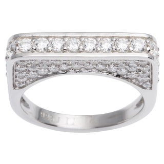 Sterling Silver Pave Geometric Square Cubic Zirconia Ring
