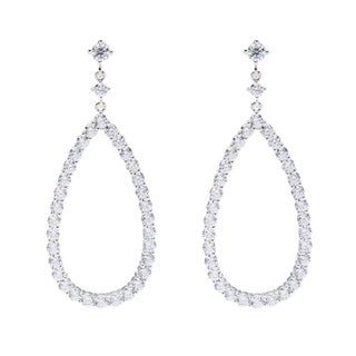 Sterling Silver Round Brilliant Cubic Zirconia Open Work Dangle Earrings