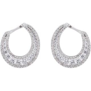 Sterling Silver Oval Bezel-set Cubic Zirconia Hoop Earrings