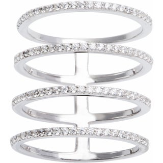Sterling Silver 4-row Pave Cubic Zirconia Line Negative Space Ring