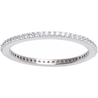 Sterling Silver Pave Cubic Zirconia Stackable Eternity Ring (More options available)