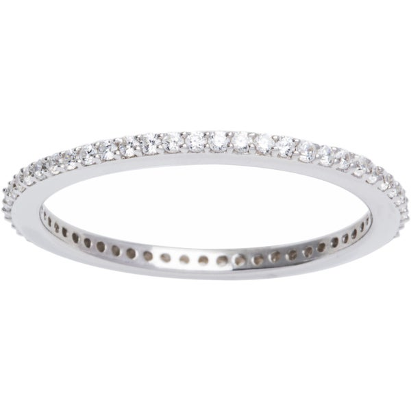 Sterling Silver Pave Cubic Zirconia Stackable Eternity Ring