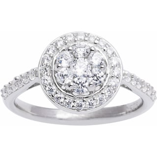 Sterling Silver Composite Cluster Cubic Zirconia Engagement Style Ring