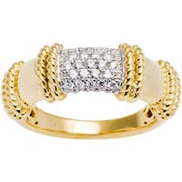 Sterling Silver Pave Cubic Zirconia Bamboo Style Ring - Yellow