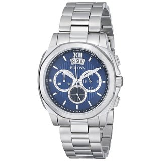 Bulova Men's 96B219 Stainless Steel Blue Dial Chronograph Watch