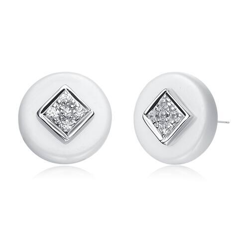 Alberto Moore Sterling Silver White Ceramic Round Stud Earrings