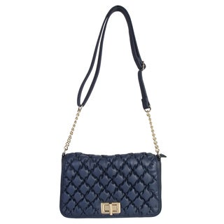 Diophy Faux Leather Quilted Texture Turn Lock Closure Crossbody Handbag