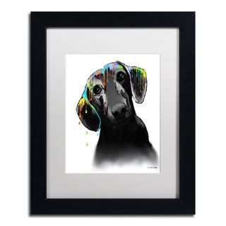 Marlene Watson 'Dachshund' White Matte, Black Framed Wall Art
