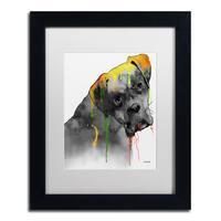 Marlene Watson 'Boxer' White Matte, Black Framed Wall Art