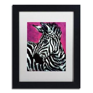Lowell S.V. Devin 'Abrica-Zebra' White Matte, Black Framed Wall Art