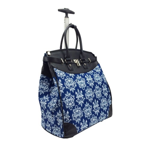 Damask Blue Foldable Rolling Carry-on 14-inch Laptop/Tablet Tote Bag