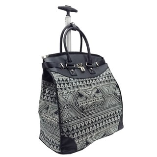 Aztec Black and White Foldable Rolling Carry-on 14-inch Laptop/Tablet Tote Bag
