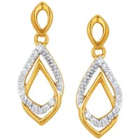 10k Yellow Gold 1/10ct TDW Diamond Tear-drop Earrings