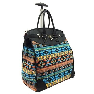 Aztec Colorful Foldable Rolling Carry-on 14-inch Laptop/ Tablet Tote Bag