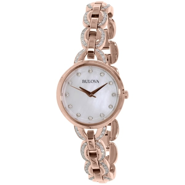 bb488e3ee Shop Bulova Women's 98L207 Rose Gold Stainless-Steel Quartz Watch - On Sale  - Free Shipping Today - Overstock - 10459524