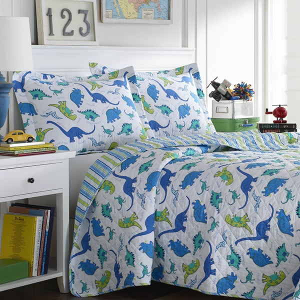 shop laura ashley dinosaurs reversible 3 piece quilt set. Black Bedroom Furniture Sets. Home Design Ideas