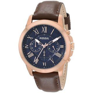 Fossil Men's Grant FS5068 Brown Leather Quartz Watch