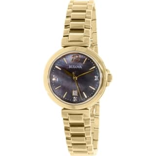 Bulova Women's Diamond 97P107 Gold Stainless-Steel Quartz Watch|https://ak1.ostkcdn.com/images/products/10459549/P17551335.jpg?impolicy=medium