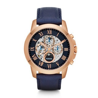Fossil Men's Grant ME3029 Blue Leather Automatic Watch