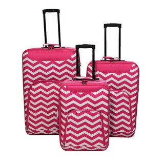 World Traveler Vogue Collection 3-piece Chevron Wheeled Upright Luggage Set