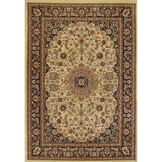 Renaissance Cream/Black Traditional Medallion Area Rug (2 x 3'11)
