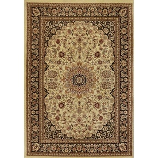 Renaissance Cream/Black Traditional Medallion Area Rug (3'3 x 5'3)