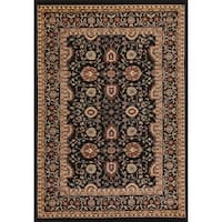 Renaissance Black Traditional Print Area Rug - 3'3 x 5'3