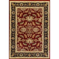 Renaissance Red Traditional Border Area Rug - 5'3 x 7'7