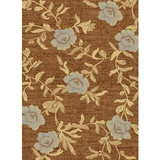 Renaissance Dark Beige Floral Area Rug (5'3 x 7'7)