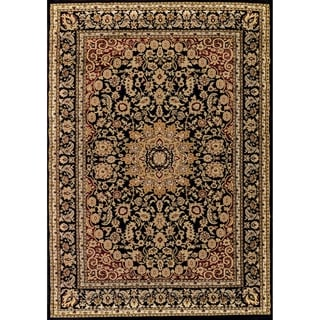 Renaissance Black Traditional Medallion Area Rug (5'3 x 7'7)